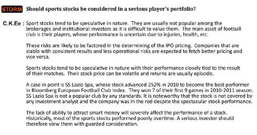 sports stocks